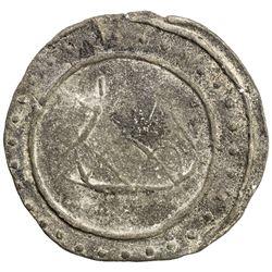 TENASSERIM-PEGU: Anonymous, 17th-18th century, cast large tin coin (38.07g). VF-EF