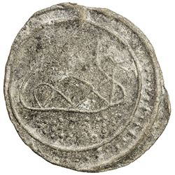 TENASSERIM-PEGU: Anonymous, 17th-18th century, cast large tin coin (34.95g). EF