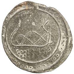 TENASSERIM-PEGU: Anonymous, 17th-18th century, cast large tin coin (40.25g). EF