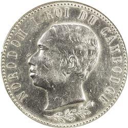 CAMBODIA: Norodom I, 1859-1904, AR medal, 1902. ANACS AU58