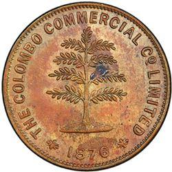CEYLON: AE token, 1876. PCGS MS62