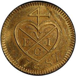 SUMATRA: gilt AE keping, 1787/AH1202. PCGS PF62