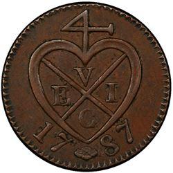 SUMATRA: AE keping, 1787/AH1202. PCGS AU53