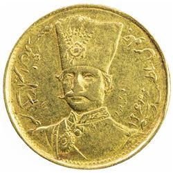 IRAN: Nasir al-Din Shah, 1848-1896, AV toman (2.79g), Tehran, blundered date. EF