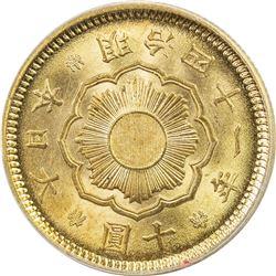 JAPAN: Meiji, 1868-1912, AV 10 yen, year 41 (1908). PCGS MS64