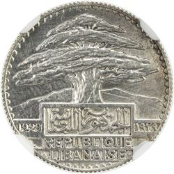 LEBANON: French Mandate, AR 10 piastres, 1929. NGC SP