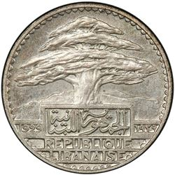 LEBANON: French Mandate, AR 50 piastres, 1929. PCGS MS64