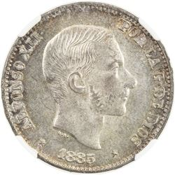 PHILIPPINES: Alfonso XII, 1874-1885, AR 50 centimos, 1885. NGC MS63