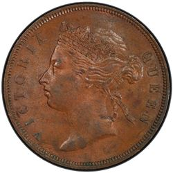STRAITS SETTLEMENTS: Victoria, 1867-1901, AE cent, 1873. PCGS MS63