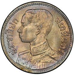 THAILAND: Rama VII, 1925-1935, AR 1/4 baht, BE2472 (1929). PCGS MS65
