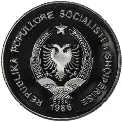 ALBANIA: People's Socialist Republic, 50 leke (31.11g), 1986. PF