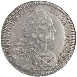 AUSTRIA: Karl VI, 1711-1740, AR thaler, Hall, 1736. NGC AU58