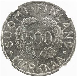 FINLAND: Republic, AR 500 markkaa, 1951. NGC MS62