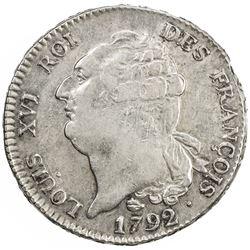 FRANCE: First Republic, AR ecu de 6 livres, 1792-M. EF