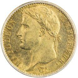 FRANCE: Napoleon I, Emperor, 1804-1814, AV 20 francs, 1808-A. PCGS MS62
