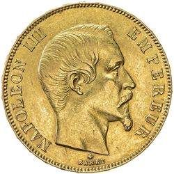 FRANCE: Napoleon III, 1852-1870, AV 50 francs (16.07g), 1858-BB. VF-EF