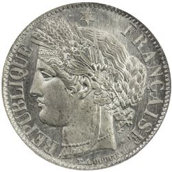 FRANCE: Third Republic, 1871-1940, white metal 1 franc, 1870-E. NGC PF65