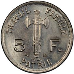 FRANCE: Vichy State, 5 francs, 1941. PCGS MS65