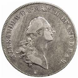 BRANDENBURG-ANSBACH: Alexander, 1757-1791, AR thaler, 1768. VF-EF