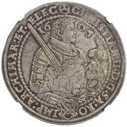 SAXONY: Christian II, Johann Georg I & August, 1591-1611, AR thaler, Dresden, 1605. NGC AU58