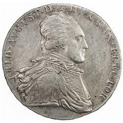 SAXONY: Friedrich August III, 1763-1806, AR thaler, 1806. EF