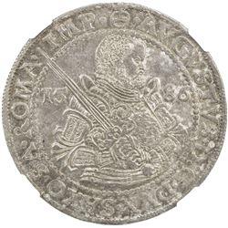 SAXE-ALBERTINE LINE: Christian I, 1586-1591, AR thaler, Dresden, 1586. NGC MS63