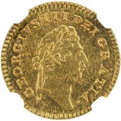 GREAT BRITAIN: George III, 1760-1820, AV 1/3 guinea, 1797. NGC MS63