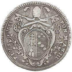 PAPAL STATES: Pius VII, 1800-1823, AR testone, 1803-R. VG-F