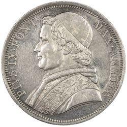 PAPAL STATES: Pius IX, 1846-1878, AR scudo, 1854-R. VF-EF
