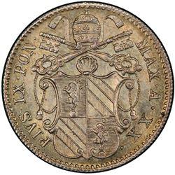 PAPAL STATES: Pius IX, 1846-1878, AR 5 baiocchi, 1865 year XX. PCGS MS66