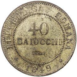 ROMAN REPUBLIC: BI 40 baiocchi, 1849-R