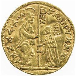 VENICE: Francesco Veniero, 1554-1556, AV ducat (3.34g), countermark Arabic sahha, EF on VF host