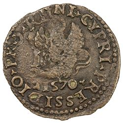 VENETIAN CYPRUS: Venetian Occupation, AE bezant (3.53g), 1570. EF