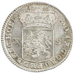 HOLLAND: Dutch Republic, AR 10 stuivers, 1749. UNC