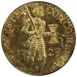 WEST FRIESLAND: Dutch Republic, AV ducat, 1729. UNC