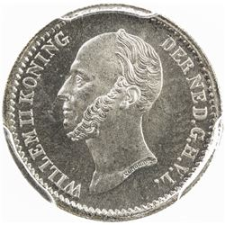 NETHERLANDS: Willem II, 1840-1849, AR 10 cents, 1849. PCGS MS66