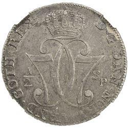 NORWAY: Christian VII, 1766-1808, AR 1/2 speciedaler, 1776. NGC AU50