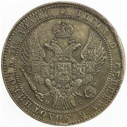 POLAND: Nicholas I, 1825-1855, AR 1 1/2 roubles (10 zlotych), St. Petersburg mint, 1836. AU
