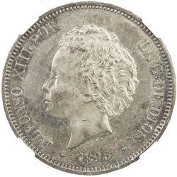 SPAIN: Alfonso XIII, 1886-1931, AR 5 pesetas, 1893 (93). NGC MS62