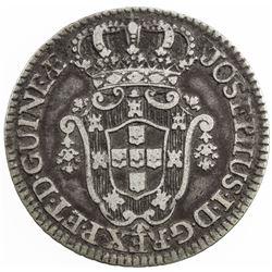 ANGOLA: Jose I, 1750-1777, AR 6 macutas, 1770. F-VF
