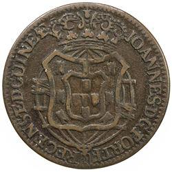 ANGOLA: Joao, as Prince Regent, 1799-1816, AE 1/2 macuta, 1814. VF