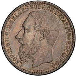 BELGIAN CONGO: Leopold II, 1885-1909, AR 5 francs, 1887. PCGS MS62