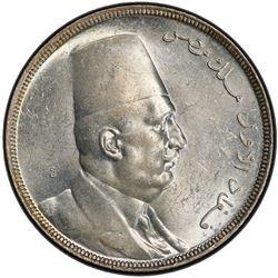 EGYPT: Fuad, as King, 1922-1936, AR 20 piastres, 1929/AH1341. PCGS MS62