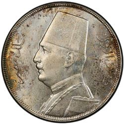 EGYPT: Fuad, as King, 1922-1936, AR 20 piastres, 1933/AH1352. PCGS MS63