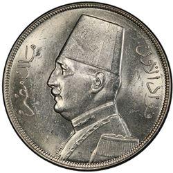 EGYPT: Fuad, as King, 1922-1936, AR 20 piastres, 1933/AH1352. PCGS MS62
