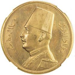 EGYPT: Fuad, as King, 1922-1936, AV 500 piastres, 1932/AH1351. NGC PF64