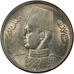 EGYPT: Farouk, 1936-1952, AR 20 piastres, 1937/AH1356. PCGS MS62