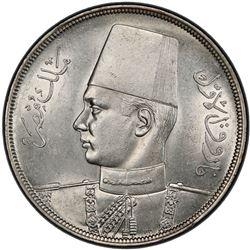 EGYPT: Farouk, 1936-1952, AR 20 piastres, 1939/AH1358. PCGS MS63