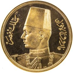 EGYPT: Farouk, 1936-1952, AV 500 piastres, 1938/AH1357. NGC PF64