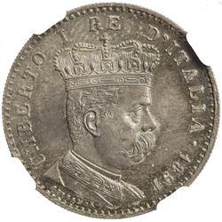 ERITREA: Umberto I, 1878-1900, AR lira, 1891-R. NGC MS65